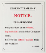 Notice. District Railway Sign. Enamel on steel.