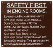 Engine Room Safety Sign.