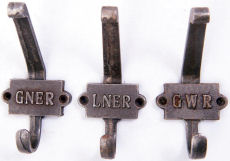 Railway Company cast iron coat hooks.